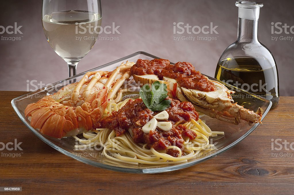lobster pasta royalty-free stock photo