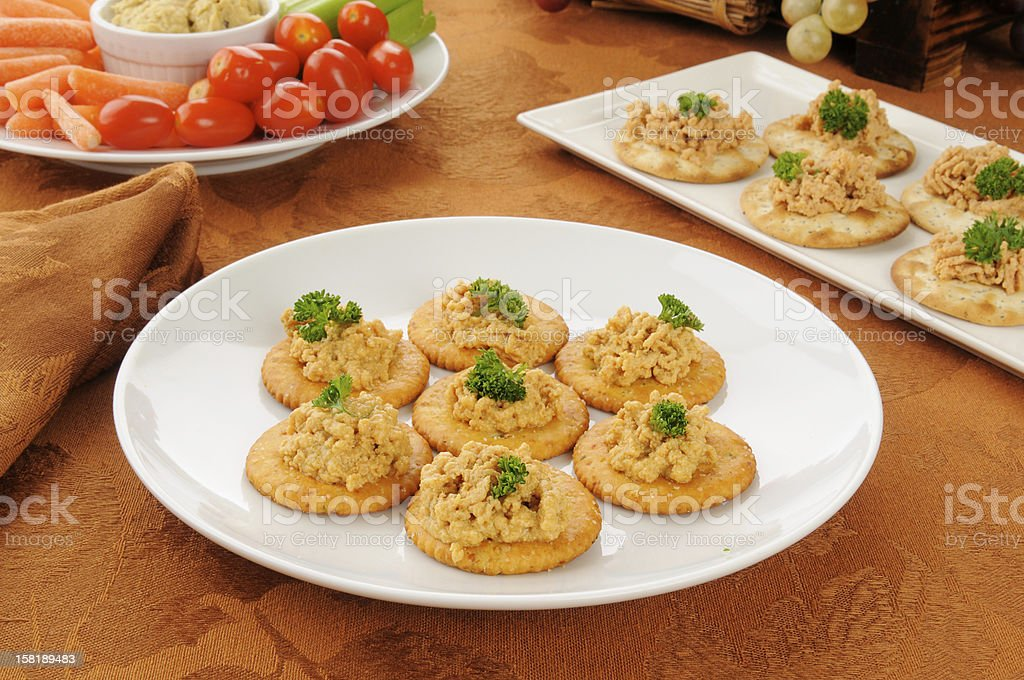 Lobster pate canapes stock photo