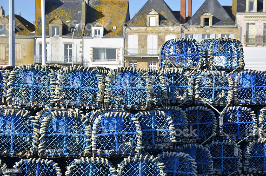 Lobster pot at Le Croisic in France stock photo