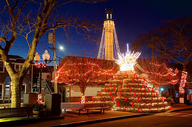 Lobster Pot Christmas Tree, Provincetown Cape Cod Lobster Pot Christmas Tree, Provincetown Cape Cod. Cape Cod is famous, worldwide, as a coastal vacation destination with some of New England's premier beach destinations provincetown stock pictures, royalty-free photos & images
