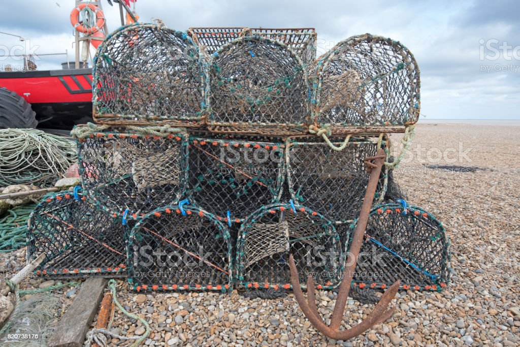 Lobster Pots and Boat stock photo