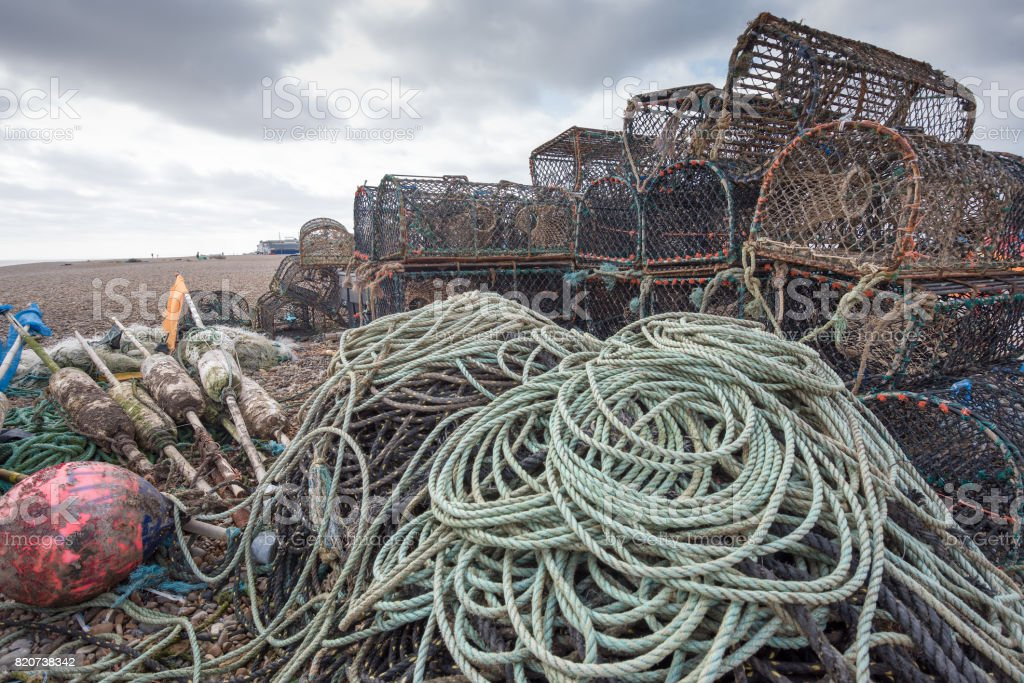 Lobster Pots and Floats stock photo