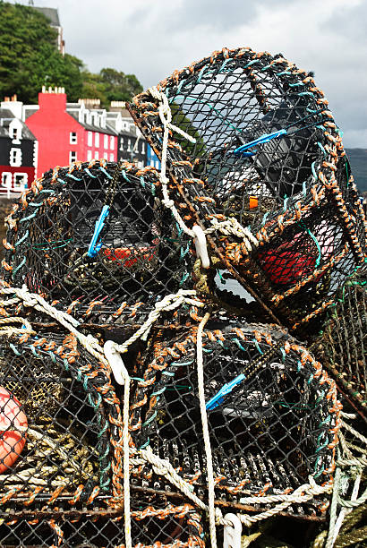 Lobster pots in Tobermory, Isle of Mull stock photo