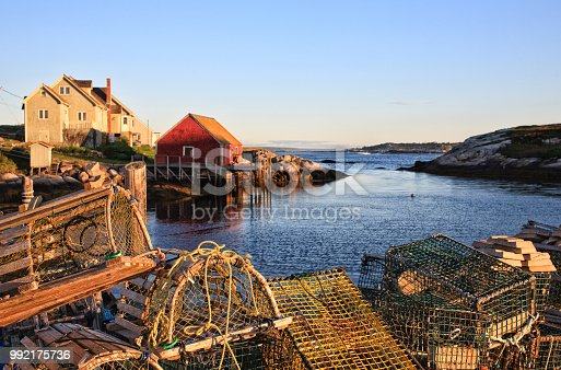 Lobster pots or traps in fishing village
