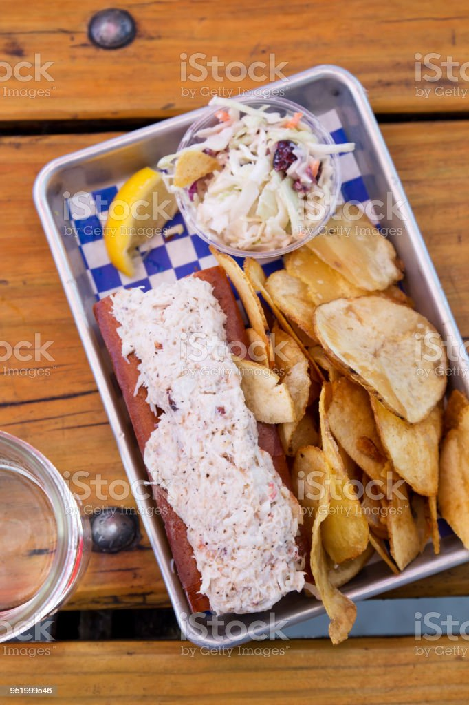 Lobster Roll in a Tin Tray Flat Lay stock photo