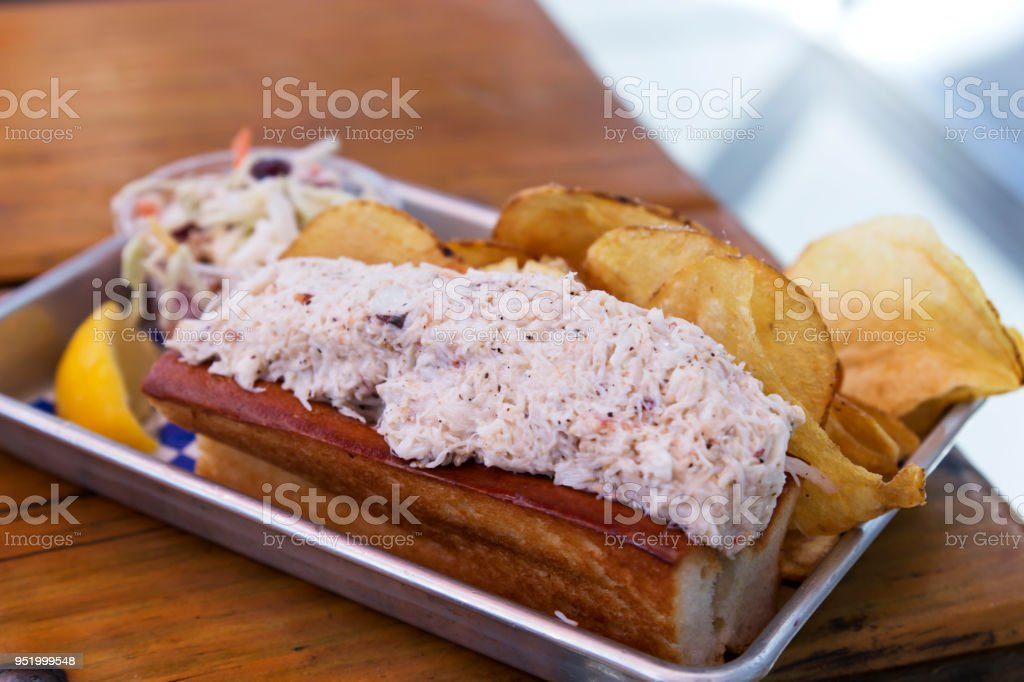 Lobster Roll in a Tin Tray stock photo