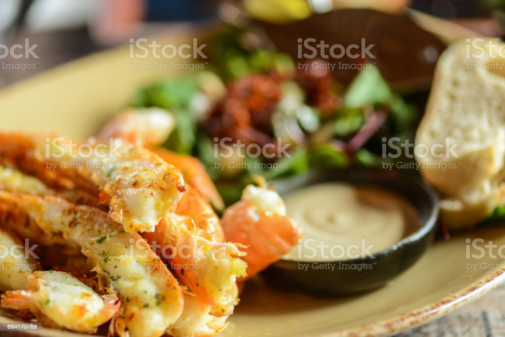Lobster seafood in restaurant on plate stock photo