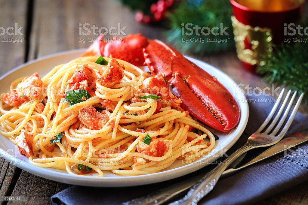 Lobster spaghetti stock photo