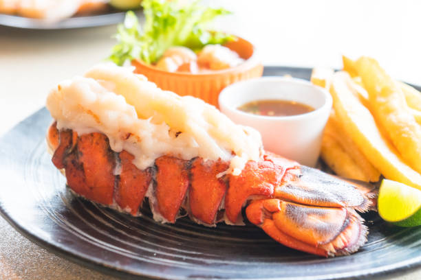 lobster steak - tail stock photos and pictures