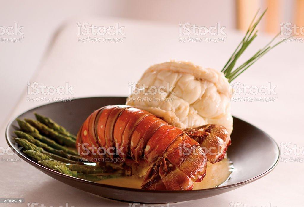 jantar de cauda de lagosta - foto de acervo