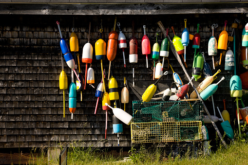 Lobster traps and buoys at fisherman's hut
