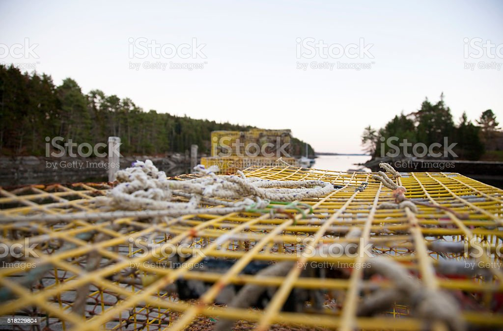 Lobster traps on the dock in the evening stock photo