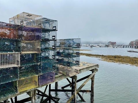 Empty lobster traps stocked on pier