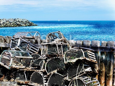 Abandoned lobsters cages on the sea shores in Gaspésie