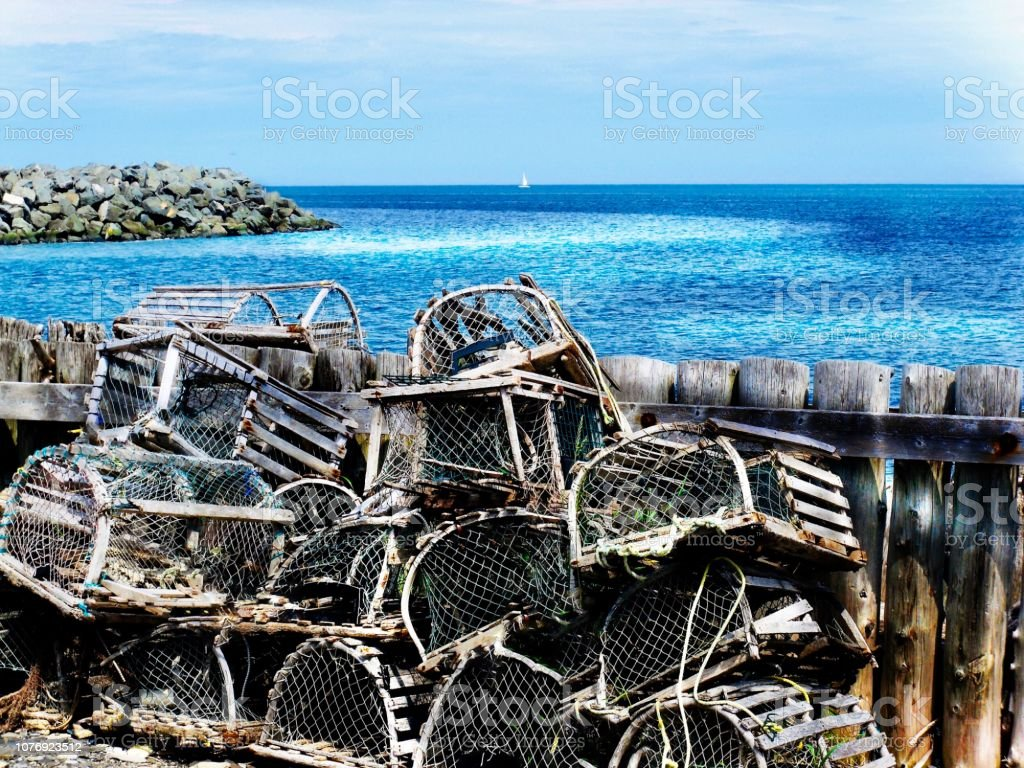 Lobsters and crayfishs cages stock photo