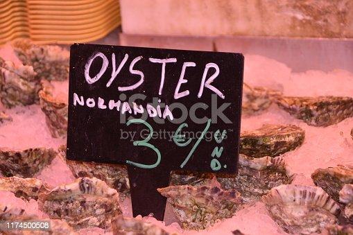 Lobsters, shrimps and prawns, fresh seafood in La Boqueria Market of Barcelona