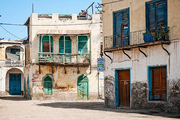 local architecture street in central massawa old town eritrea - eritrea stock photos and pictures