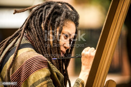 istock Local Artist Paints on an Easel 458884627