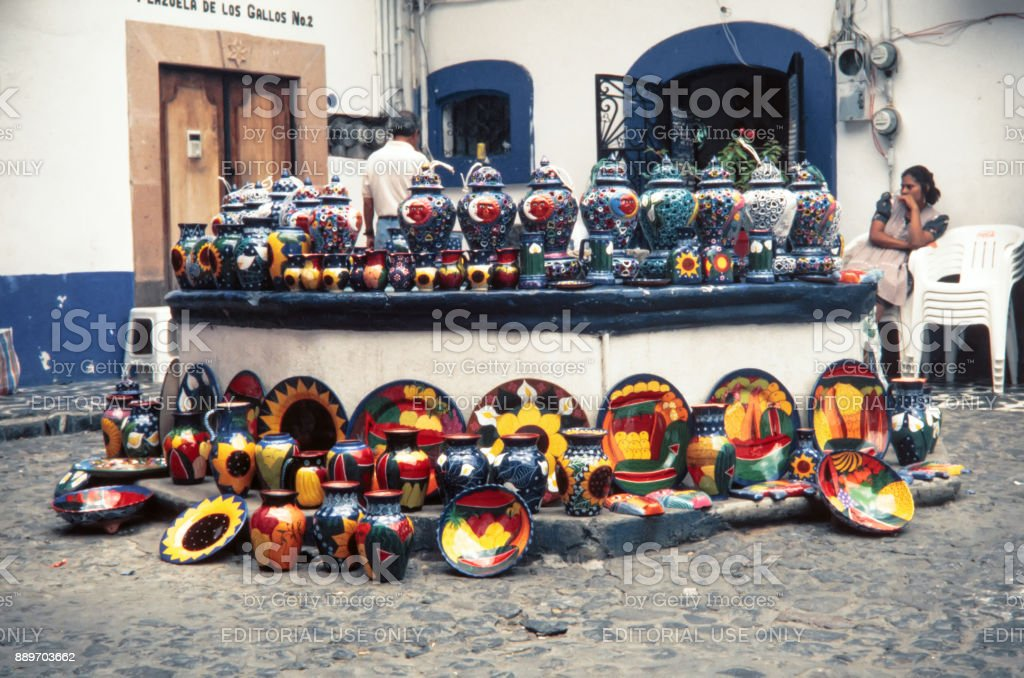 Mexico City Mexico August 13 1998 Local Aztec Souvenirs Made Of