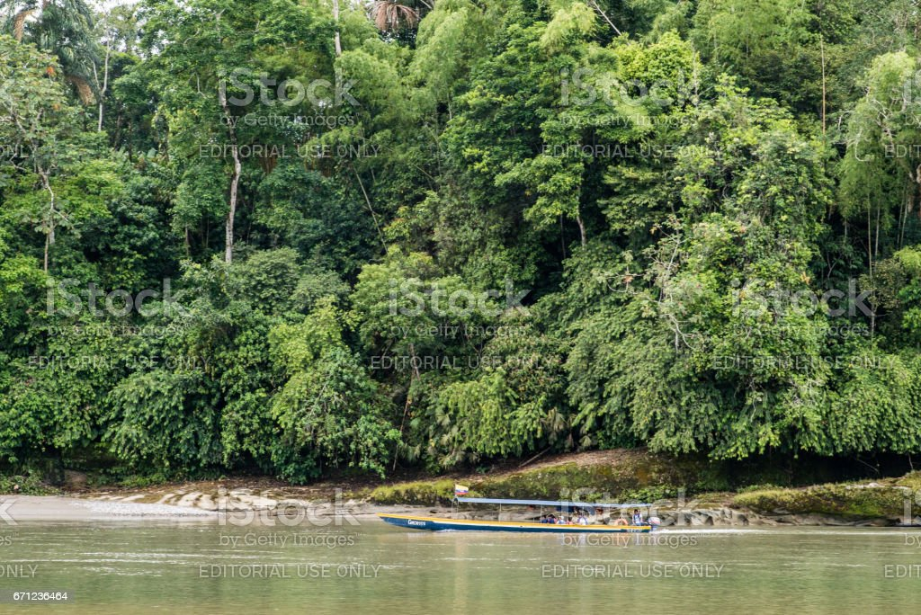 Local boat transporting tourists on the  Napo river stock photo