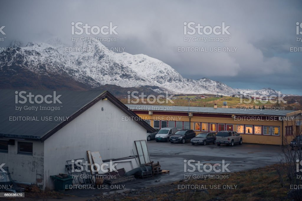 Local buildings in Leknes city, Norway stock photo