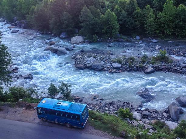 Local bus at Manali - Leh, Ladakh highway road, India stock photo