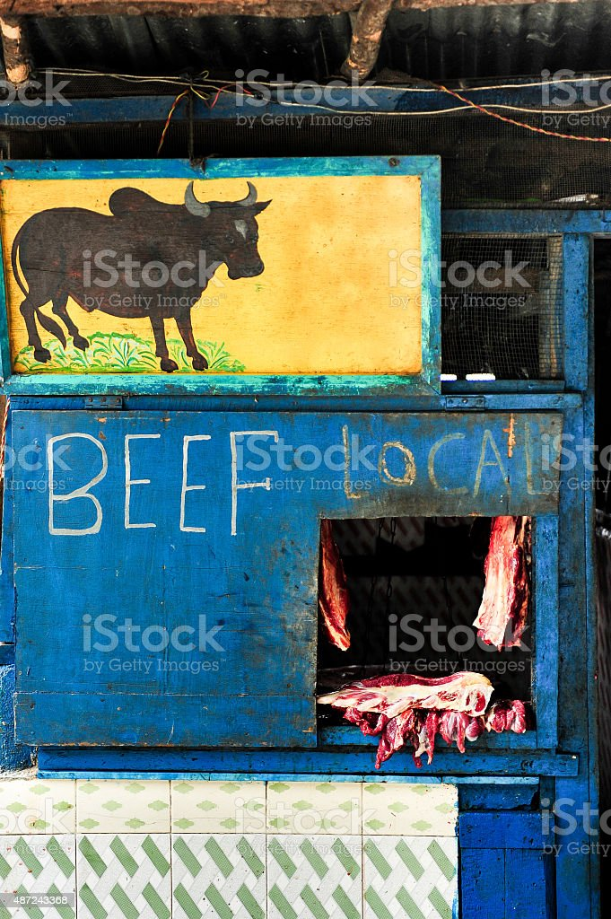 Local butcher shop in Sikkim stock photo