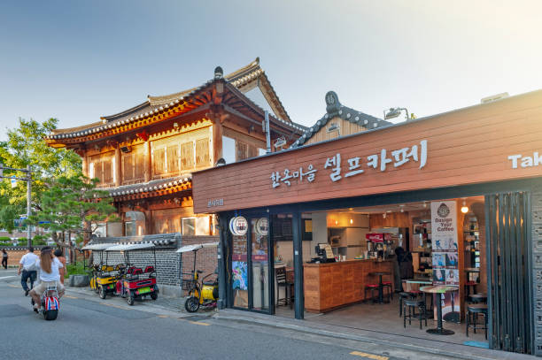 Local cafe and restaurant in Jeonju Hanok Village, popular tourist attraction designated as an International Slow City in 2010 stock photo