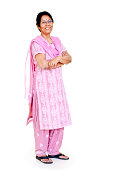 Cheerful Casual Indian Senior Women Full Length Isolated on white