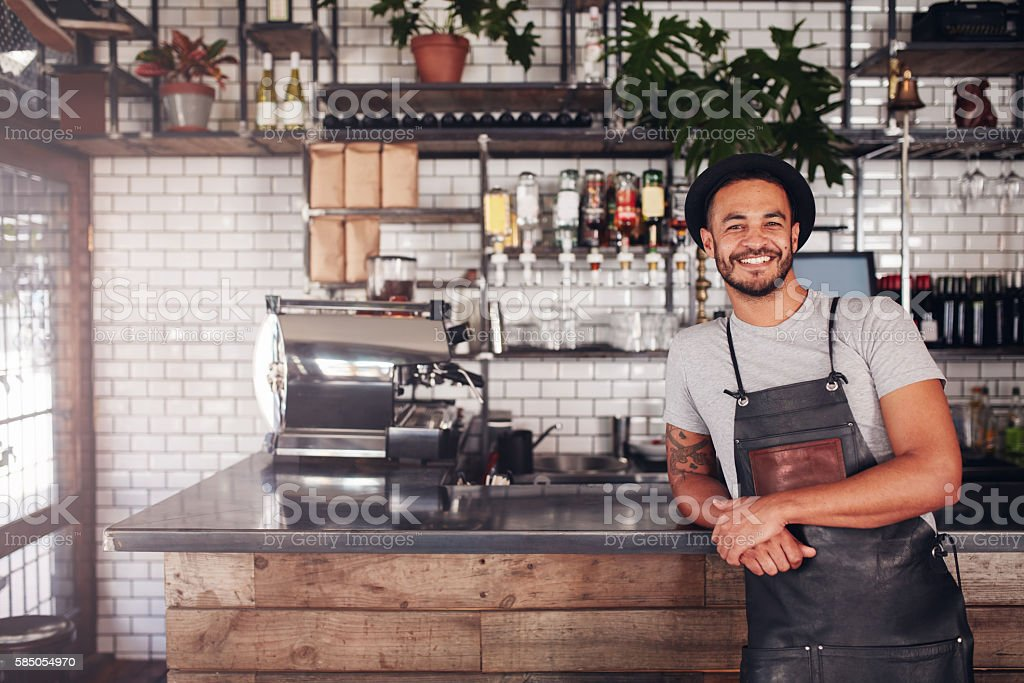 Local coffee shop owner stock photo