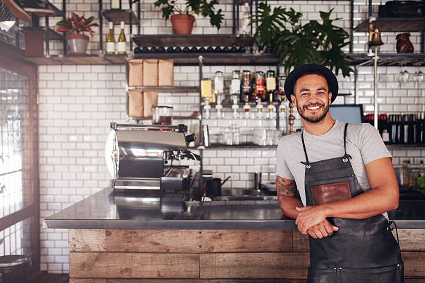 local coffee shop owner - barista stock photos and pictures