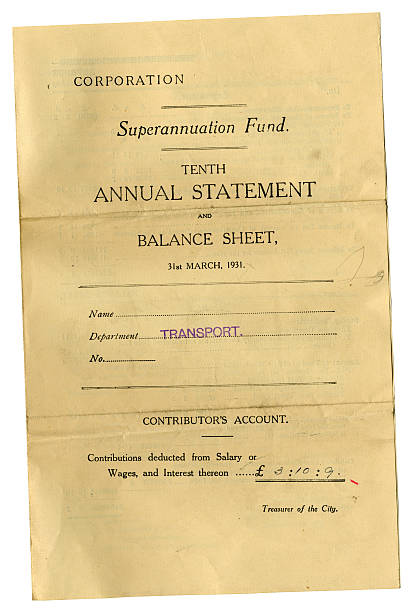 local council superannuation fund contributor's account balance sheet 1931 - contributor stock pictures, royalty-free photos & images