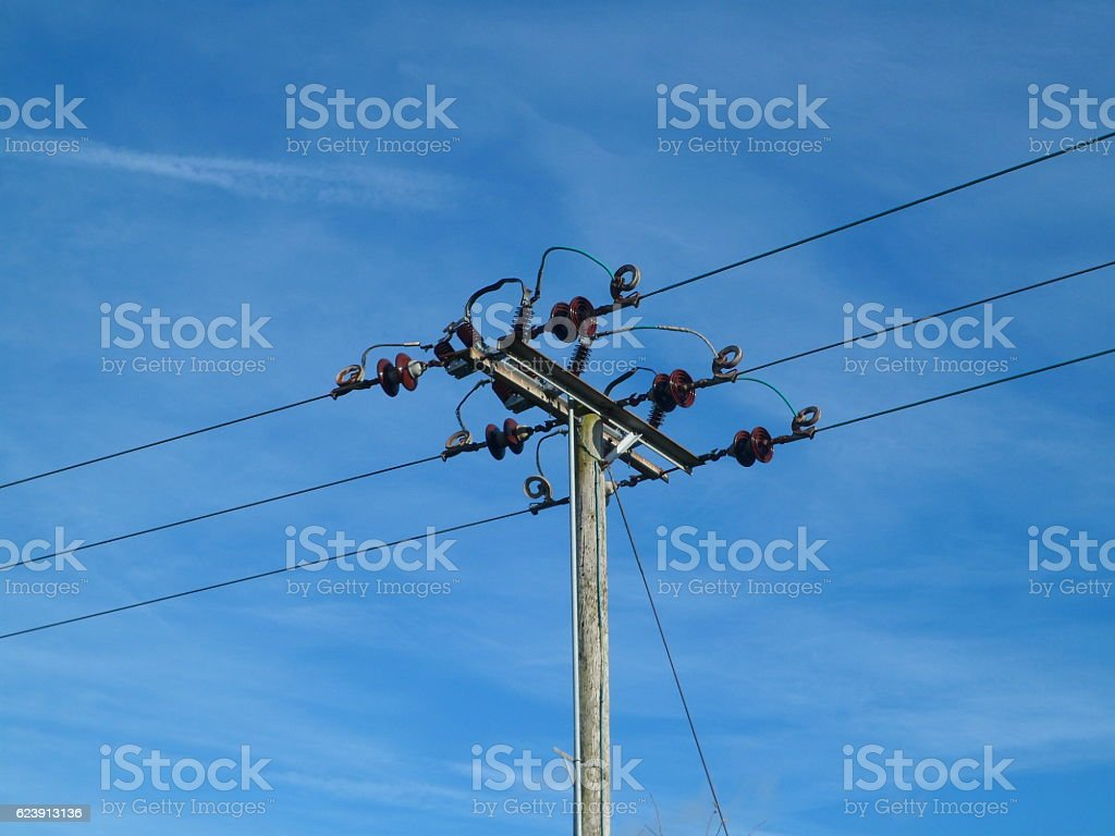 Local Electrical Power Distribution Cables Stock Photo