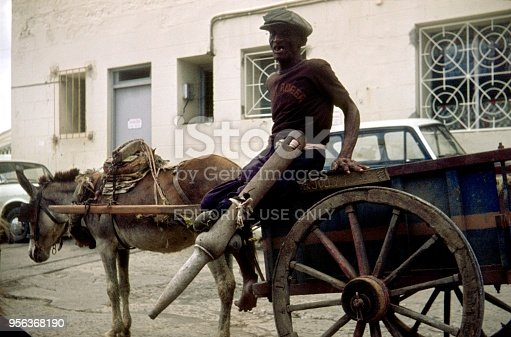 Caribbean, Bridgetown, Barbados, 1976. Local entrepreneur on his cart named