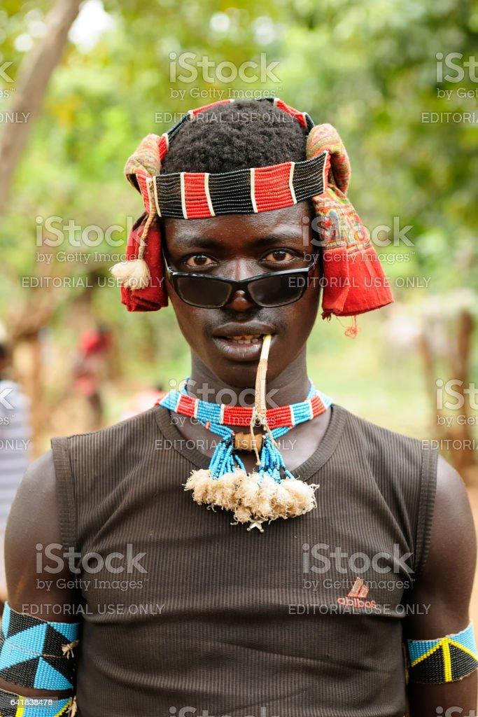 Local Ethiopian man in the Jinka town in the Omo valley in Ethiopia stock photo