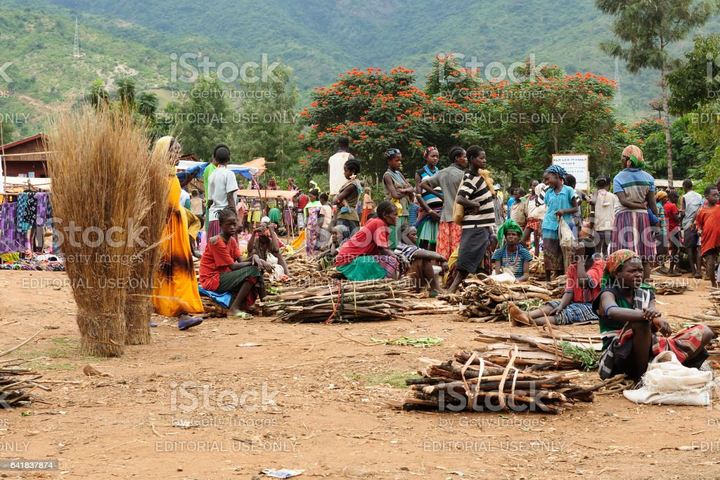 Local Ethiopian people being a market stock photo