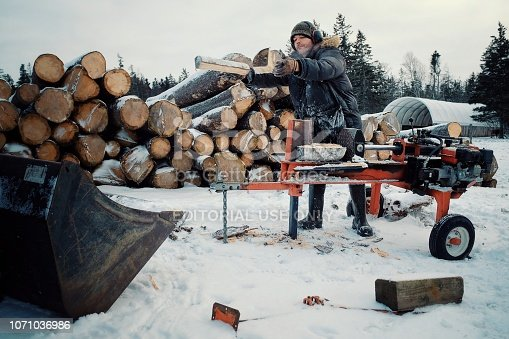 Wild Mountain Farm , Canning , Nova Scotia / Canada - DEC 31 2017 : local farmer man chopping and cutting fire wood for heating during the cold winter months in a snow hail storm