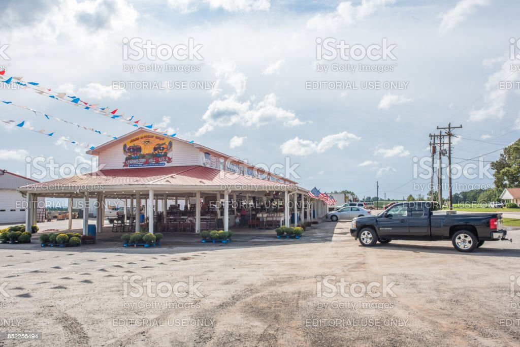 A local farmers market in upstate South Carolina Cooley Springs, South Carolina, Sept. 10, 2017: Exterior view of the locally famous Strawberry Hill market in Cooley Springs, S.C., a beautiful rural area known for farms of peaches and other crops Animal Wildlife Stock Photo