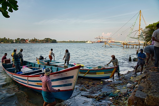 Kochi, India - January 02, 2020: Many local fishermen near their boats by the shore, taking out the fish from the boats, in the middle of the day, in Kochi, India.