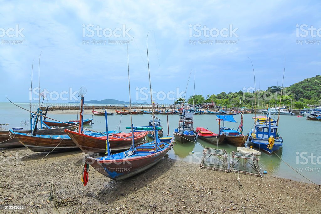 Local fishing boats in Rayong Thailand stock photo