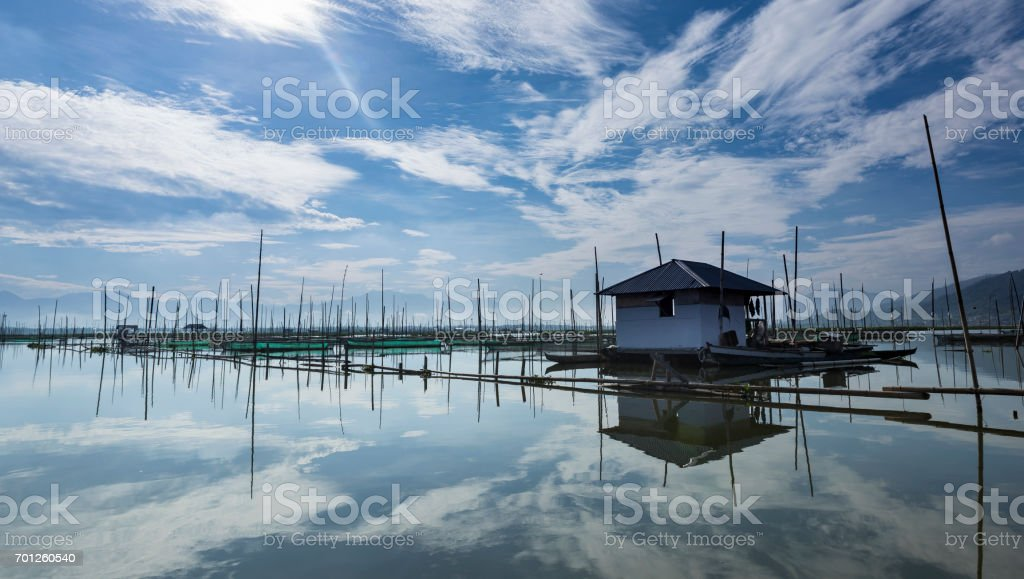 Local fishing hut in Gorontalo in Sulawesi Indonesia stock photo