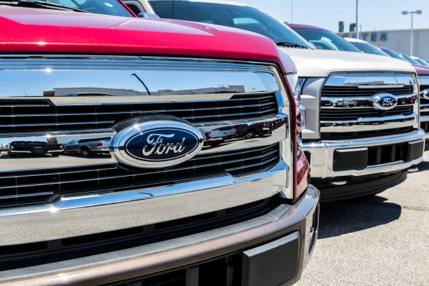 Local Ford Car and Truck Dealership. Ford sells products under the Lincoln and Motorcraft brands IX stock photo