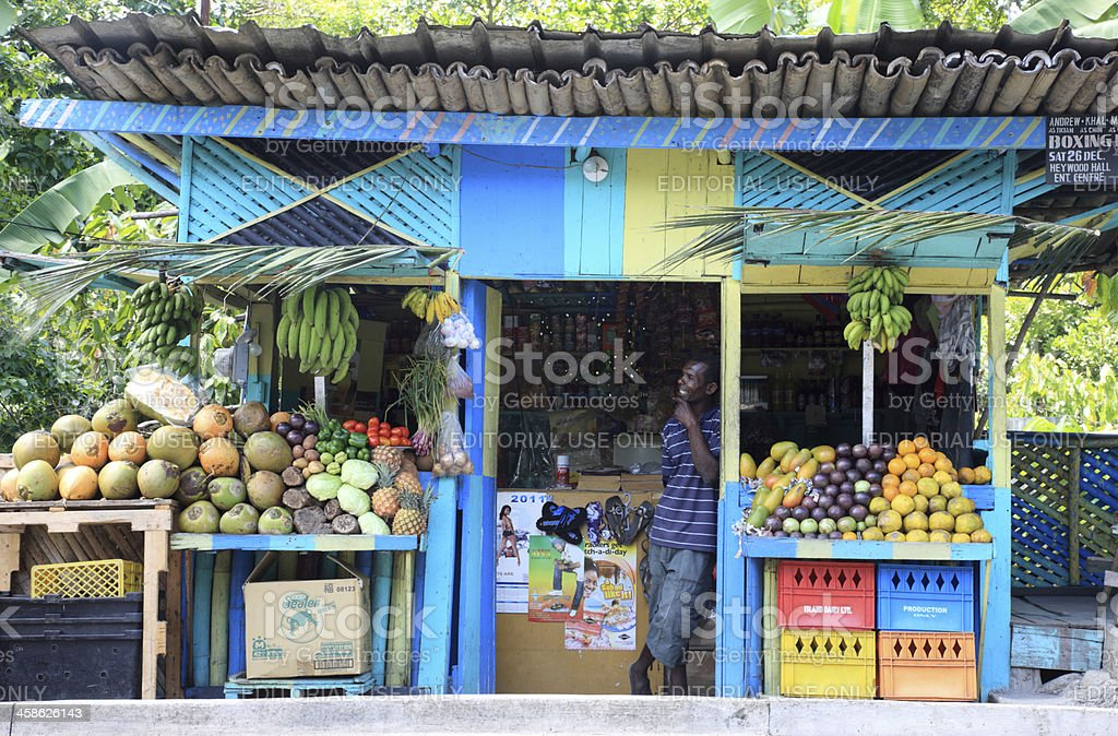 Local Fruit Stand in Ocho Rios, Jamaica stock photo