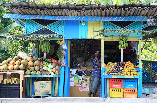 local fruit stand in ocho rios, jamaica - jamaica stock photos and pictures