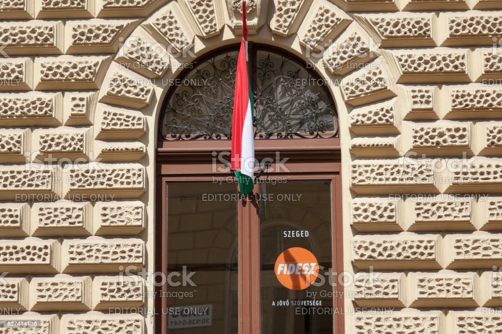 Local headquarters of Fidesz political party in Szeged, southern Hungary. Fidesz is the political part of the current Hungarian prime minister, Viktor Orban, known for his populist, conservative and right wing positions stock photo