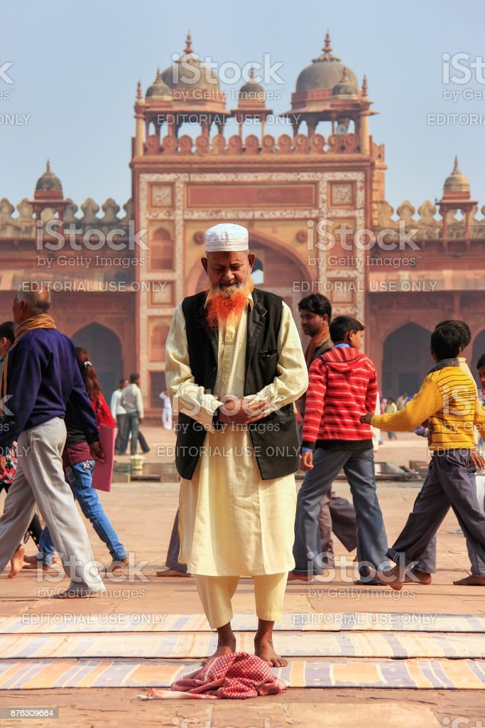 Local man standing in Jama Masjid in Fatehpur Sikri, India stock photo