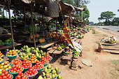 Colorful local market roadside on the way to Entebbe