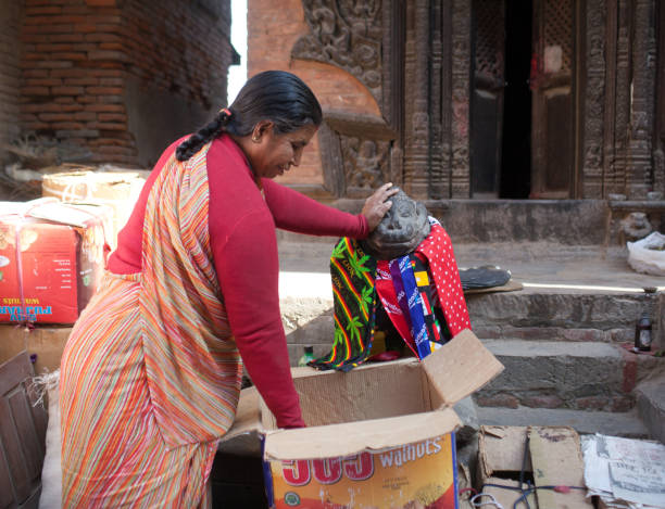 Local market in Patan, Nepal stock photo