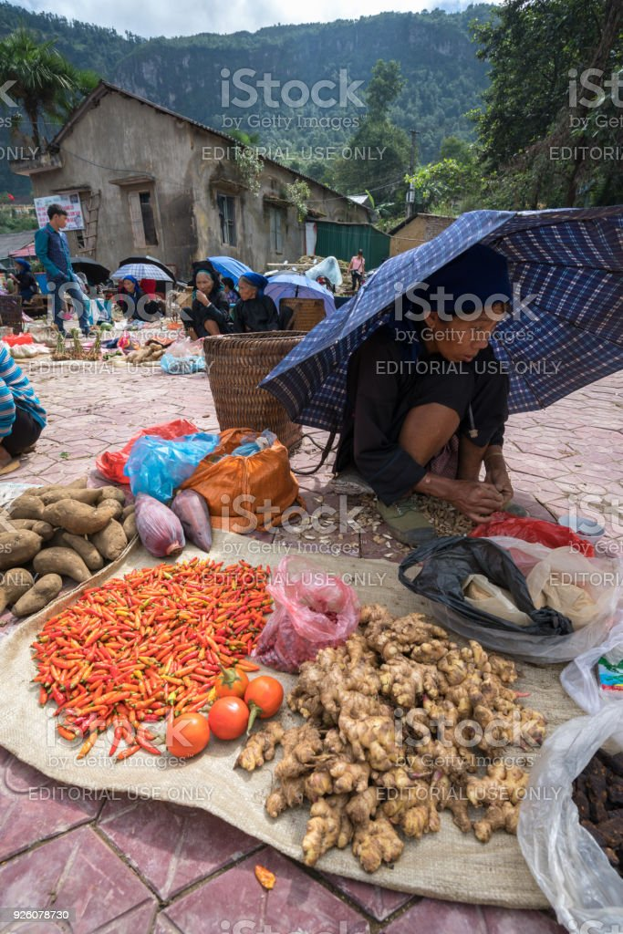 Local market in Y Ty, Bat Xat district. Most ethnic minority people...