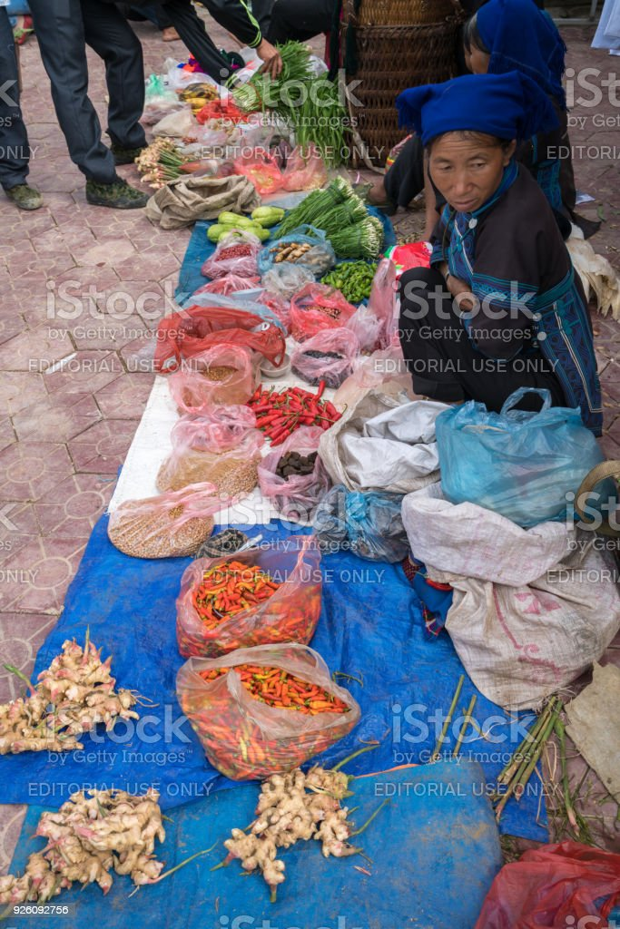 Local market in Y Ty, Bat Xat district. Most ethnic minority people go to the market to sell and buy local daily necessity. stock photo